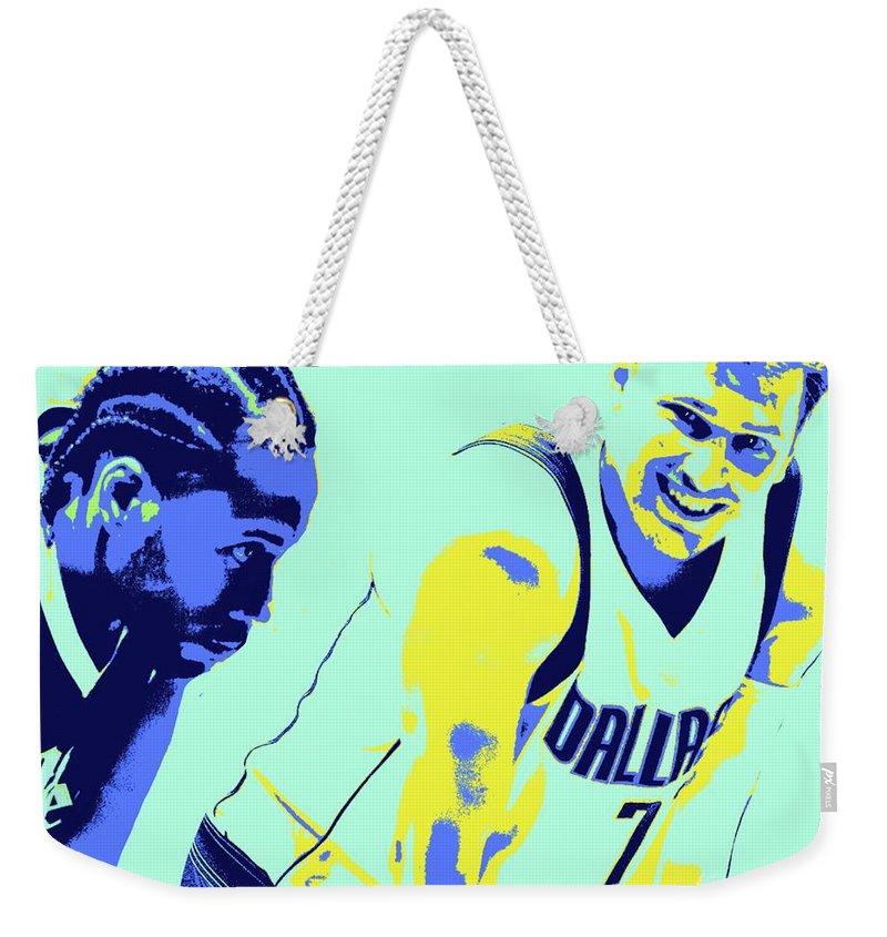 Kawhi Weekender Tote Bag featuring the painting Kawhi and Luca by Jack Bunds