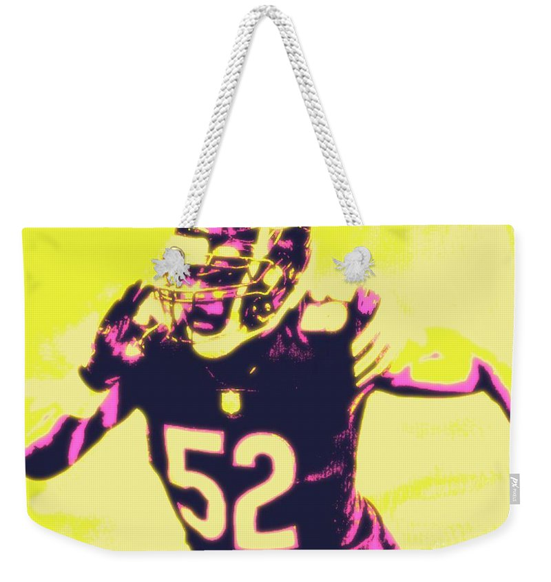 Khalil Weekender Tote Bag featuring the painting Khalil Mack by Jack Bunds