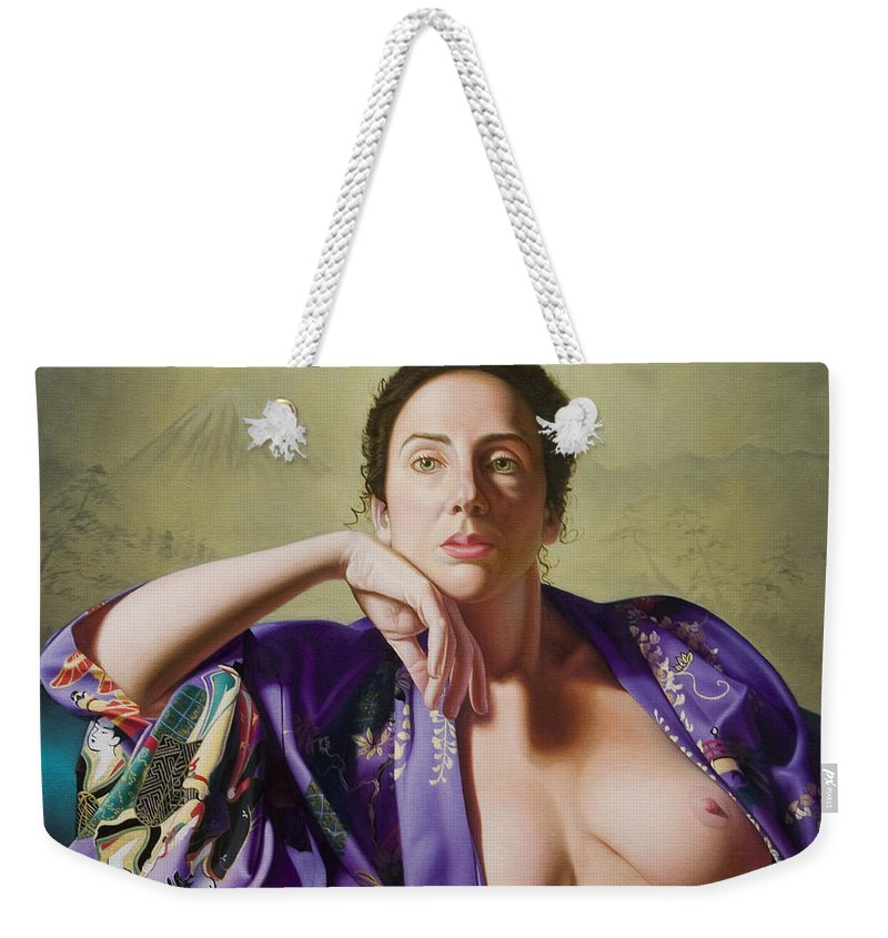 Purple Silk Kimono Weekender Tote Bag featuring the painting Kimono by Gary Hernandez