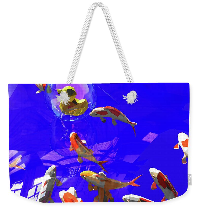 Koifish Weekender Tote Bag featuring the digital art Koifish_and_Duckie by Heike Remy