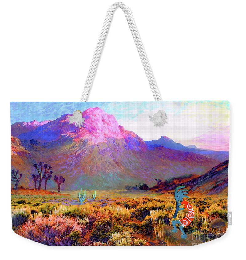 Spiritual Weekender Tote Bag featuring the painting Kokopelli Dawn by Jane Small