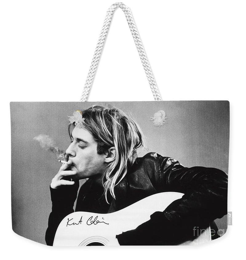 Kurt Cobain Weekender Tote Bag featuring the photograph KURT COBAIN - SMOKING POSTER - 24x36 MUSIC GUITAR NIRVANA by Trindira A