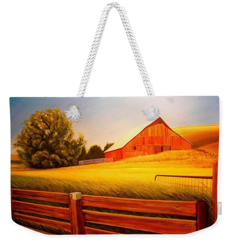 Wheat Weekender Tote Bag featuring the painting La Crosse Barn by Leonard Heid