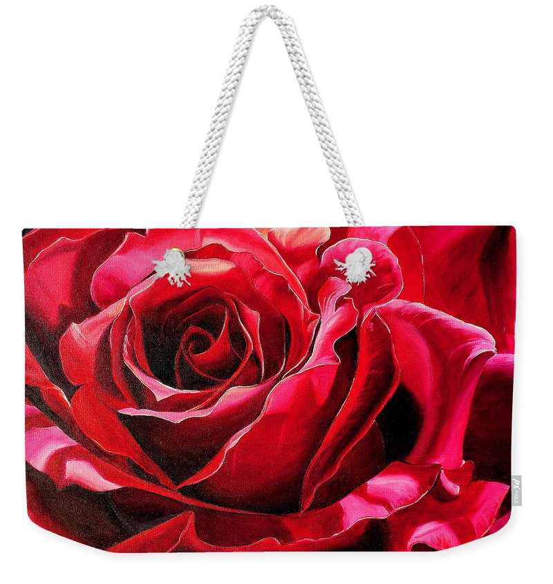 Rose Painting Weekender Tote Bag featuring the painting Labelle Rose    by Karin Dawn Kelshall- Best