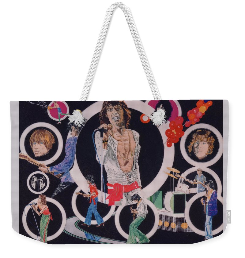 The Rolling Stones Weekender Tote Bag featuring the drawing Ladies And Gentlemen - The Rolling Stones by Sean Connolly