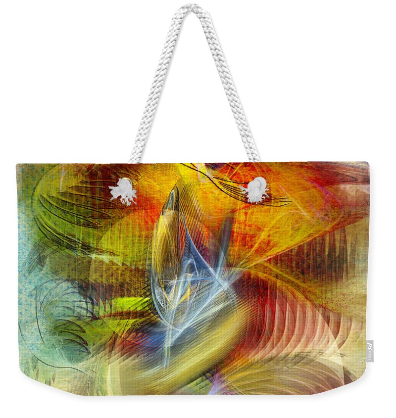 Affordable Art Weekender Tote Bag featuring the digital art Lady And Her Shells by John Robert Beck