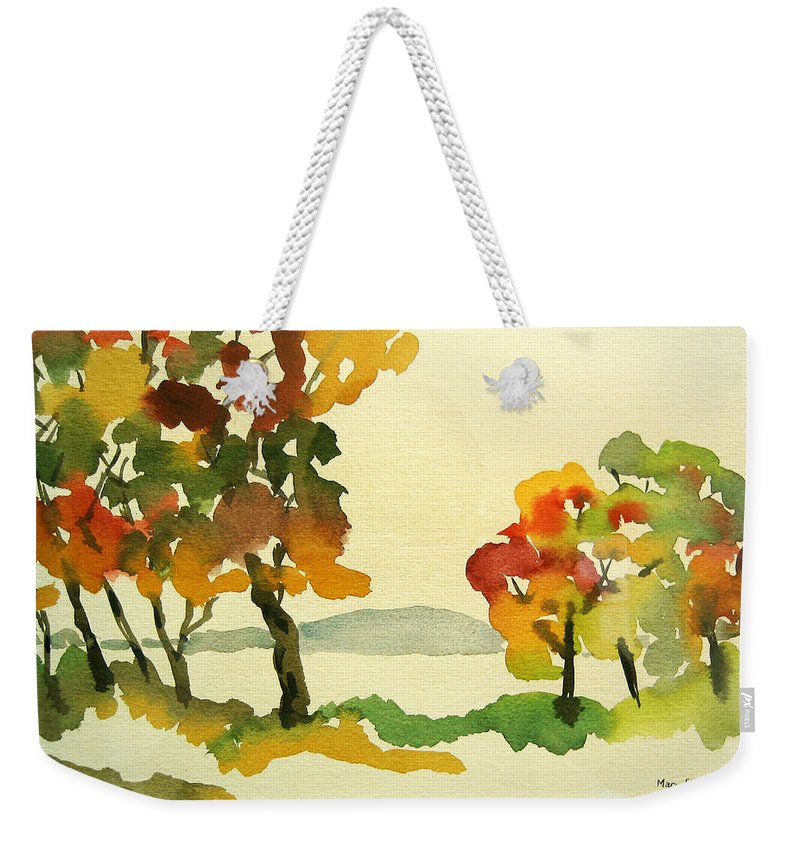 Landscape Weekender Tote Bag featuring the painting Lake Study by Mary Ellen Mueller Legault