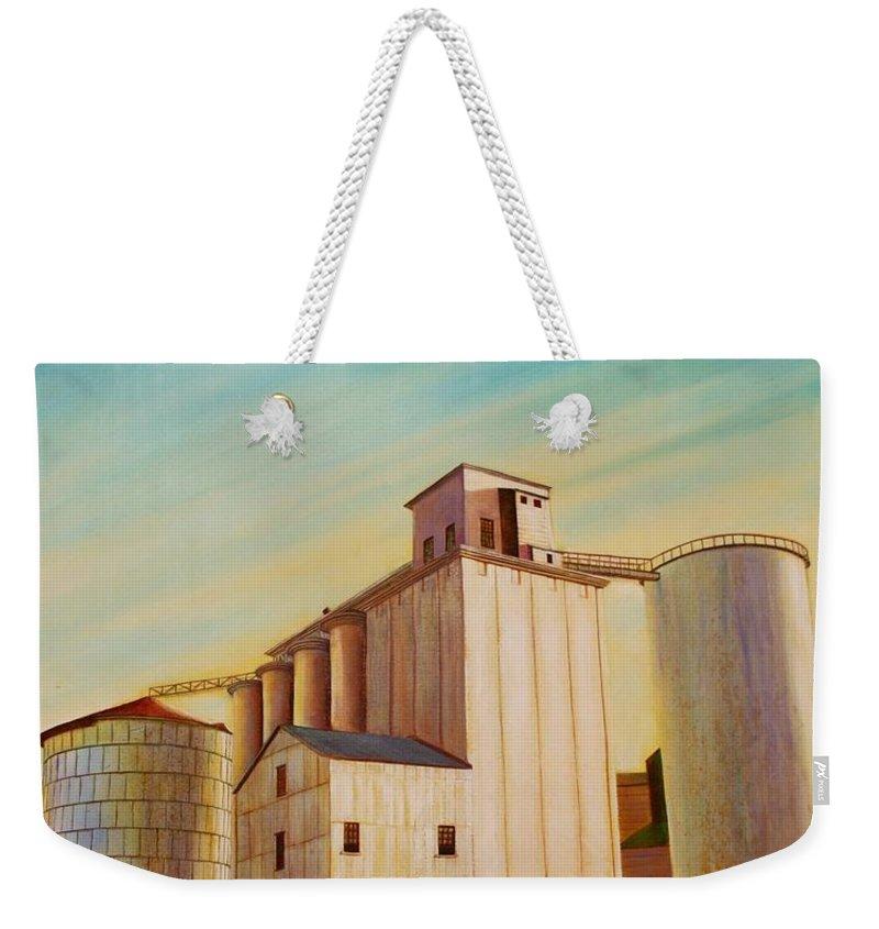 Grain Weekender Tote Bag featuring the painting Latah County Grain Growers by Leonard Heid