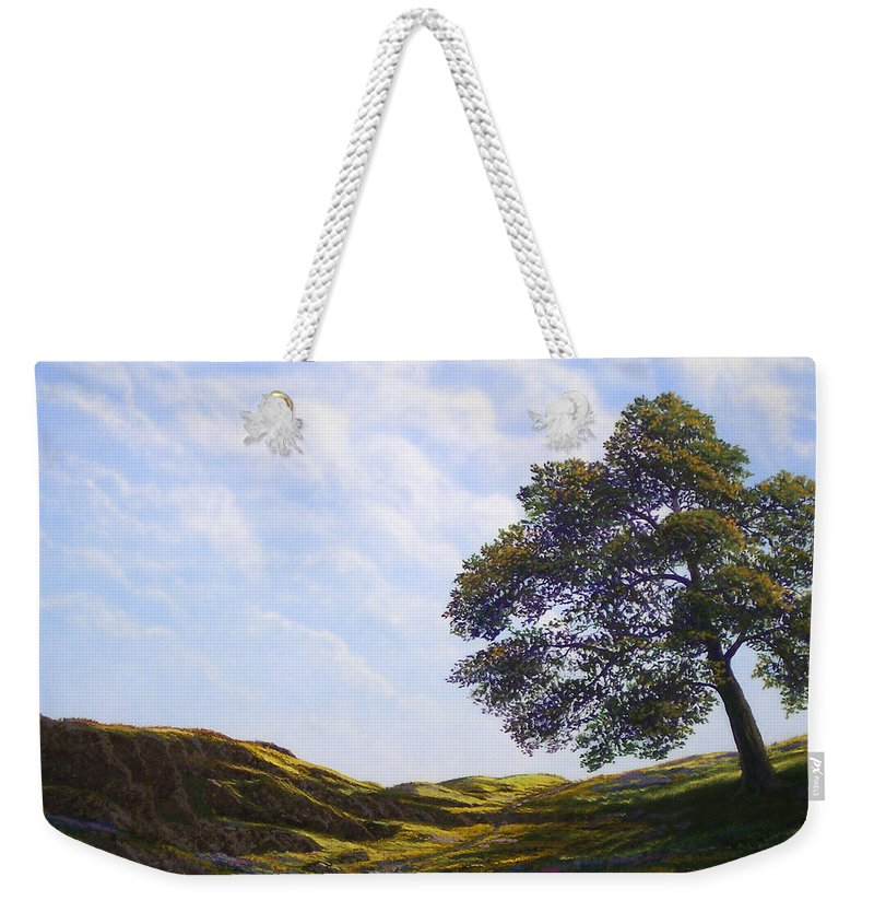 Landscape Weekender Tote Bag featuring the painting Lava Rock And Flowers by Frank Wilson