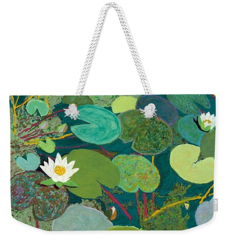 Landscape Weekender Tote Bag featuring the painting Lazy Pond by Allan P Friedlander