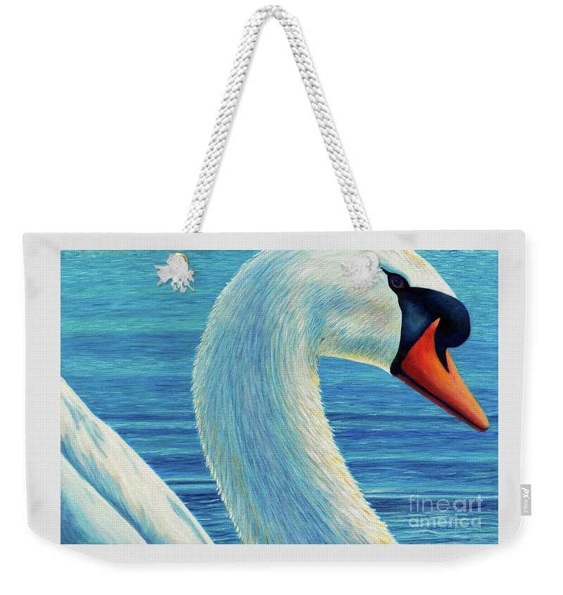 Swan Weekender Tote Bag featuring the painting Lead Me Into Love by Brian Commerford