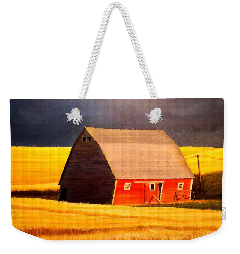Barn Weekender Tote Bag featuring the painting Leans to the Right by Leonard Heid