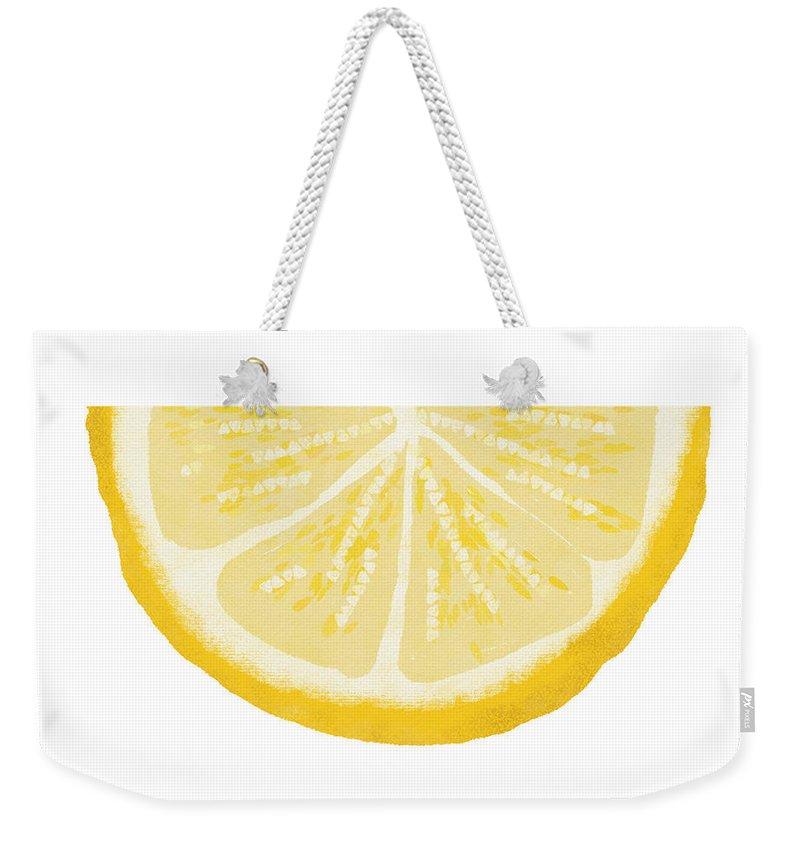 Lemon Weekender Tote Bag featuring the painting Lemon Wedge- Art By Linda Woods by Linda Woods