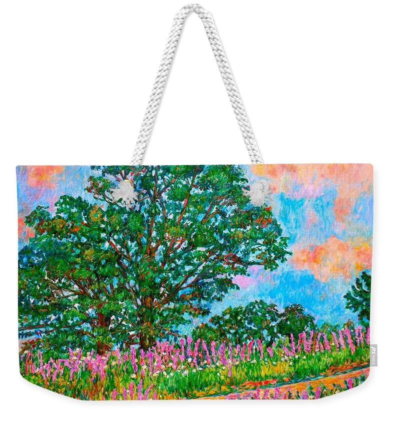 Landscape Weekender Tote Bag featuring the painting Liatris Flowers at Doughton Park by Kendall Kessler
