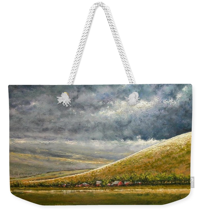 Landscape Weekender Tote Bag featuring the painting Lightburst-Jackson Hole by Jim Gola