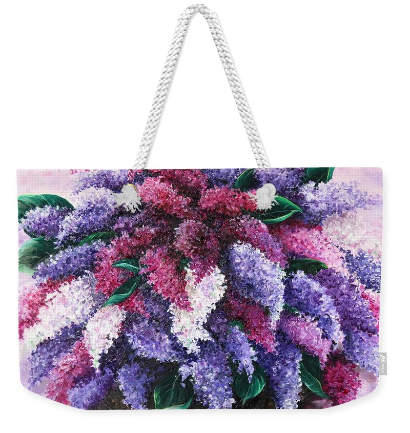 Lilacs Weekender Tote Bag featuring the painting Lilac Time by Karin Dawn Kelshall- Best