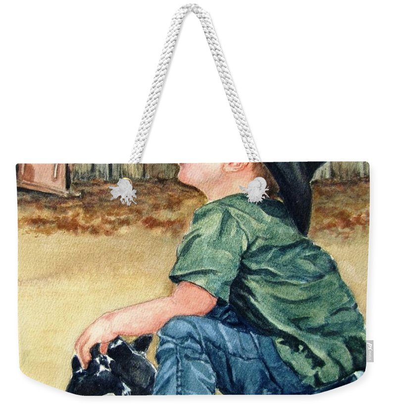 Children Weekender Tote Bag featuring the painting Little Ranchhand by Karen Ilari