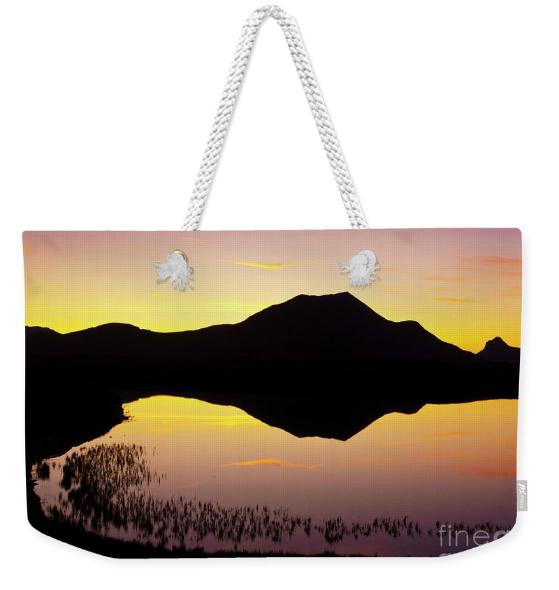 Silhouette Weekender Tote Bag featuring the photograph Lochan An Ais Sunset, Sutherland, Scotland by Neale And Judith Clark