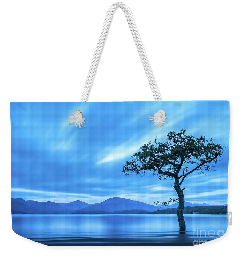 Milarrochy Bay Weekender Tote Bag featuring the photograph Lone tree Milarrochy Bay by Janet Burdon