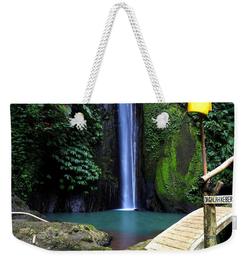 Waterfall Weekender Tote Bag featuring the digital art Lonely waterfall by Worldvibes1