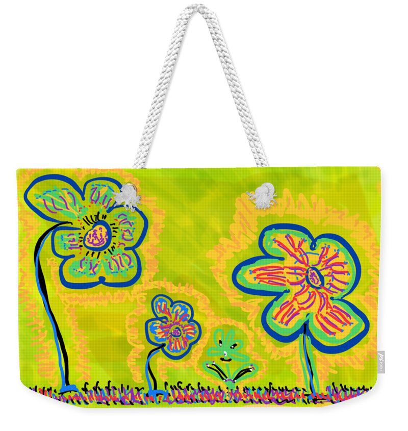 Spring Weekender Tote Bag featuring the drawing Looking for Spring by Pam Roth O'Mara