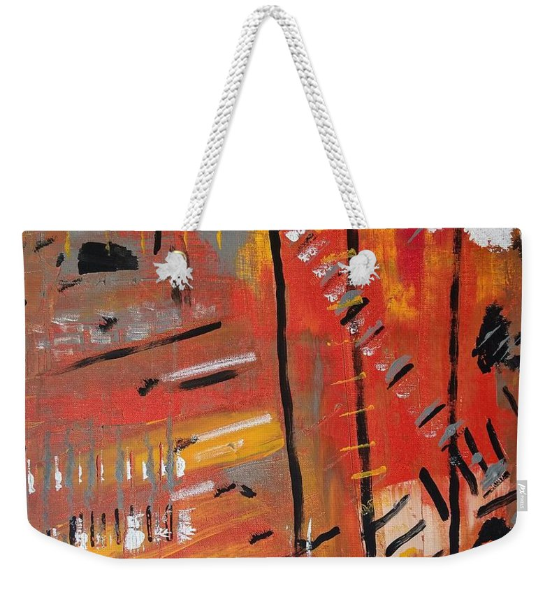 Colorado Weekender Tote Bag featuring the painting Looking Like October by Pam Roth O'Mara