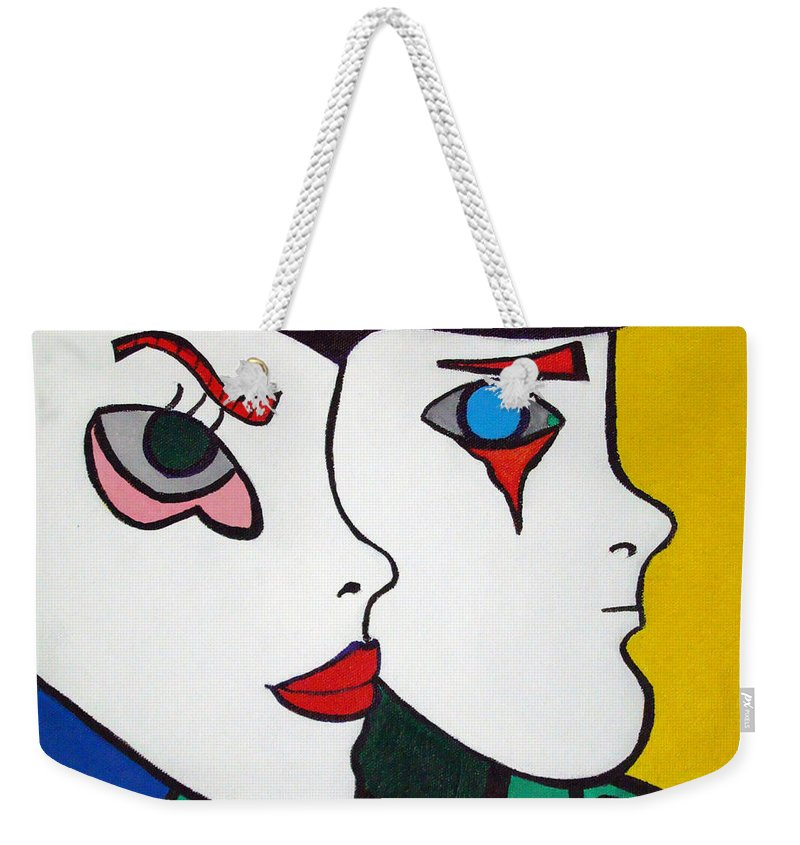Pop-art Weekender Tote Bag featuring the painting Love Hurts by Silvana Abel