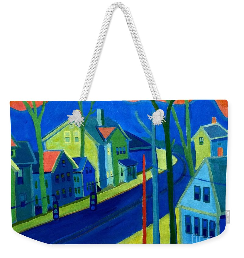 Cityscape Weekender Tote Bag featuring the painting Lowell Deluge by Debra Bretton Robinson