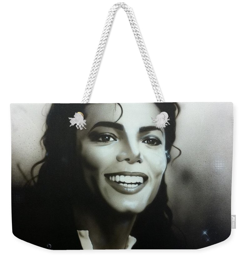 Michael Jackson Weekender Tote Bag featuring the painting M. J. by Christian Chapman Art