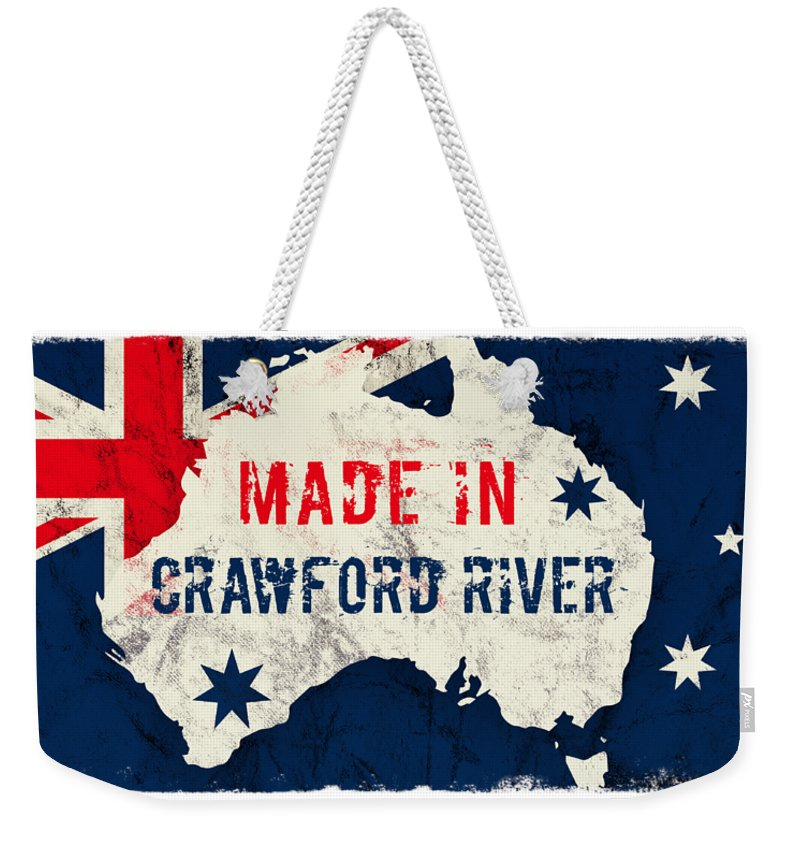 Crawford River Weekender Tote Bag featuring the digital art Made In Crawford River, Australia #crawfordriver #australia by TintoDesigns