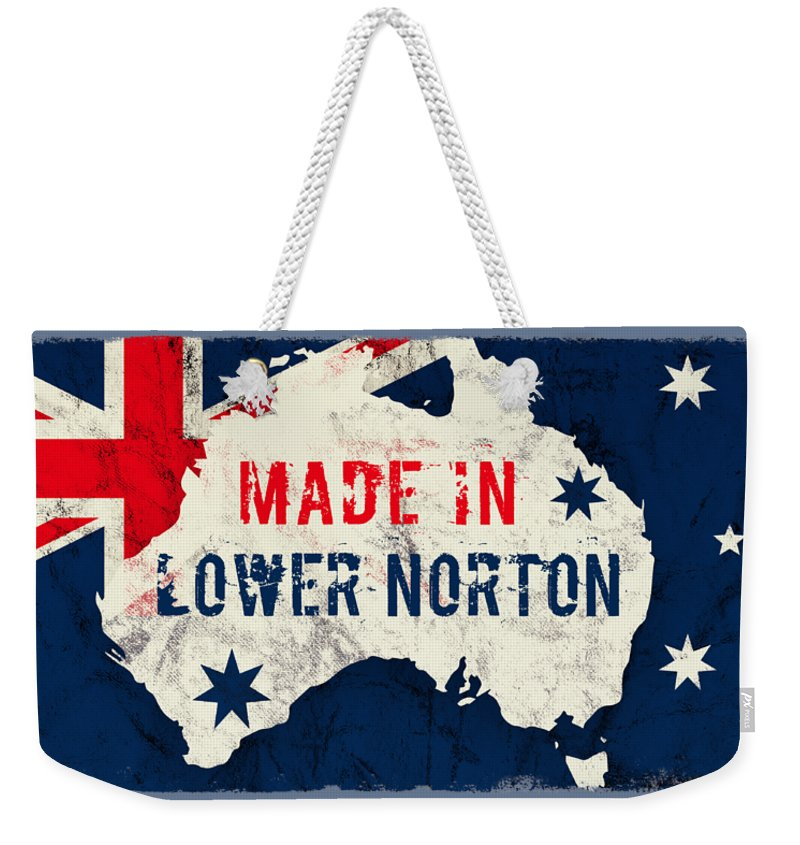 Lower Norton Weekender Tote Bag featuring the digital art Made In Lower Norton, Australia by TintoDesigns