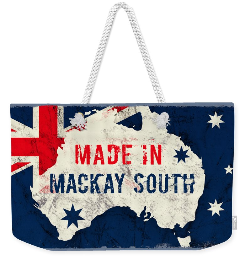 Mackay South Weekender Tote Bag featuring the digital art Made In Mackay South, Australia by TintoDesigns