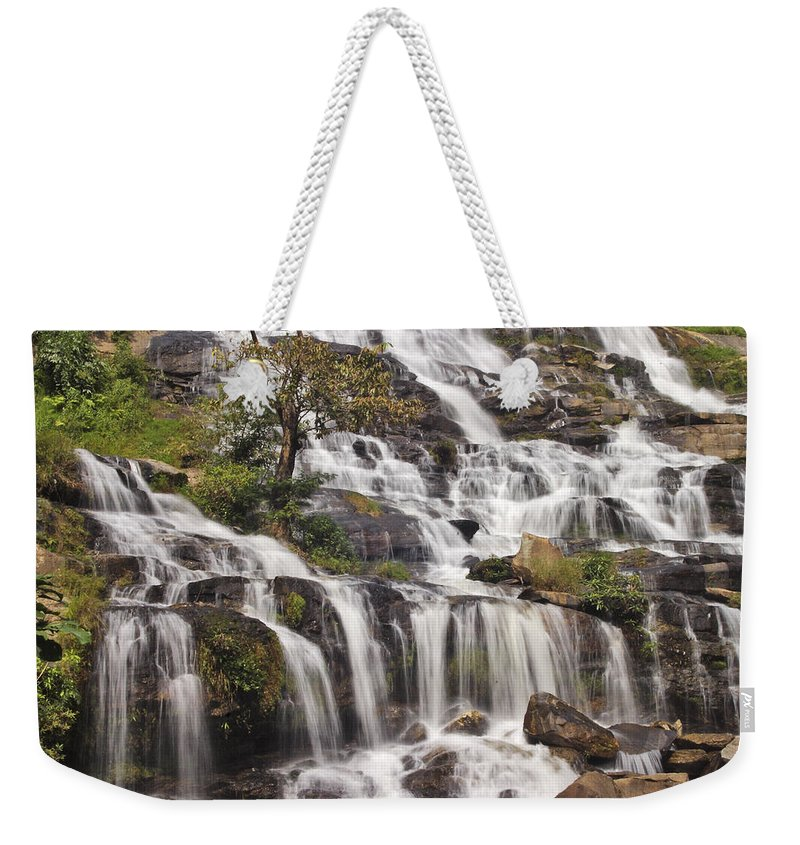 3scape Weekender Tote Bag featuring the photograph Mae Ya Waterfall by Adam Romanowicz