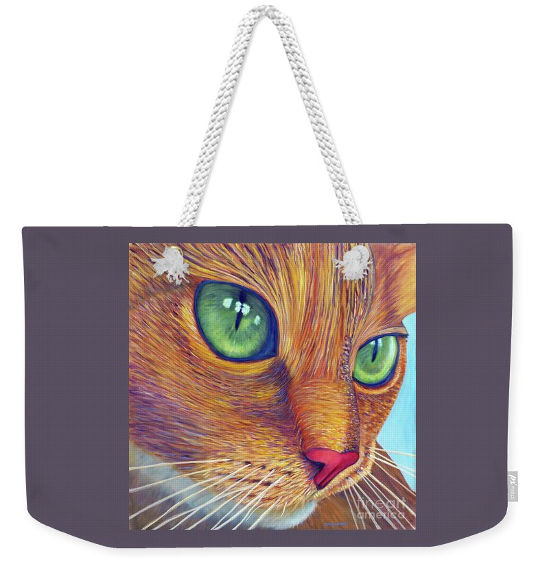 Cat Weekender Tote Bag featuring the painting Magnetism by Brian Commerford