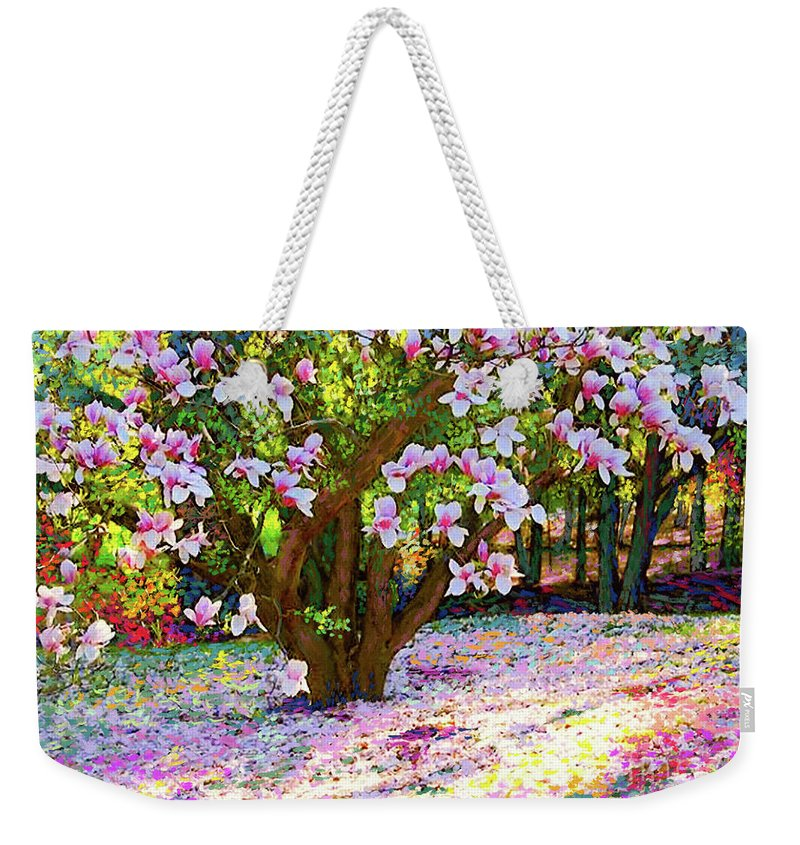 Landscape Weekender Tote Bag featuring the painting Magnolia Melody by Jane Small