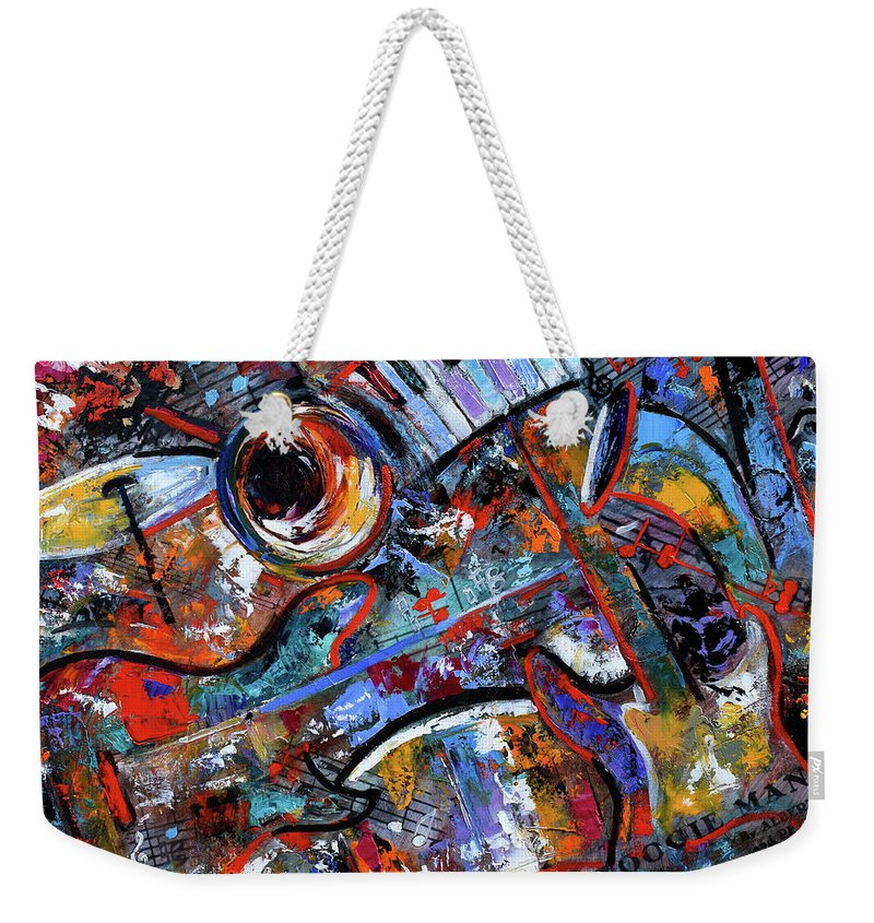 Abstract Weekender Tote Bag featuring the painting Make Music #3 by Debra Hurd