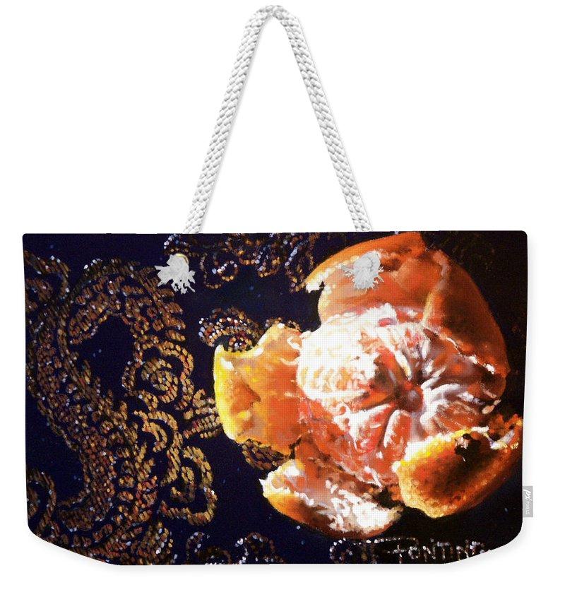 Mandarin Weekender Tote Bag featuring the painting Mandarin by Dianna Ponting