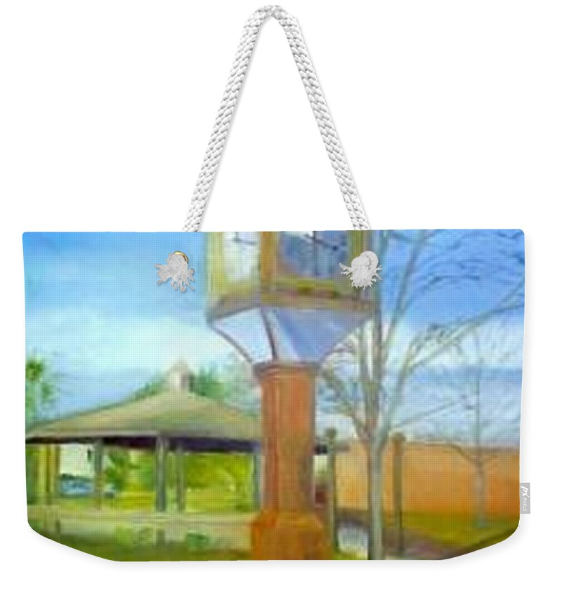 Maple Shade Weekender Tote Bag featuring the painting Maple Shade Clock by Sheila Mashaw