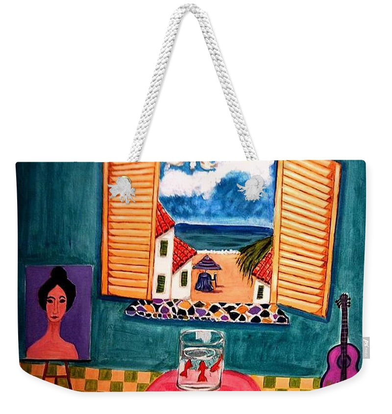 Guitar Weekender Tote Bag featuring the painting Marina by Rusty Gladdish