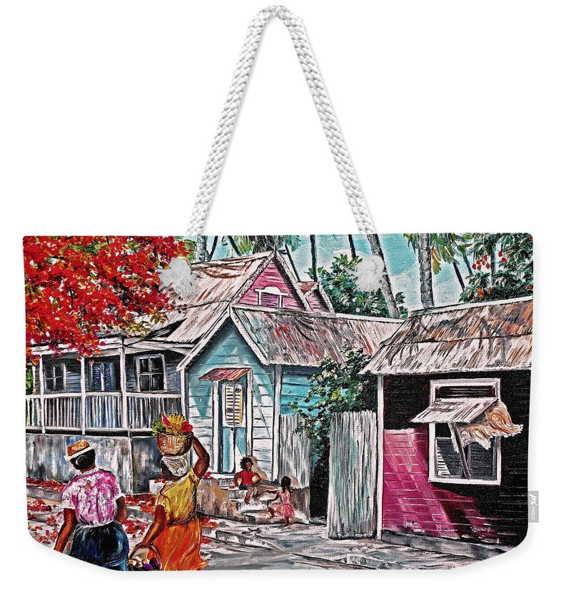 Market Women Painting Barbados Painting Islands Painting  Poinciana Painting Houses Painting Poinciana Painting Caribbean Painting Tropical Painting Weekender Tote Bag featuring the painting Marketday Barbados by Karin Dawn Kelshall- Best