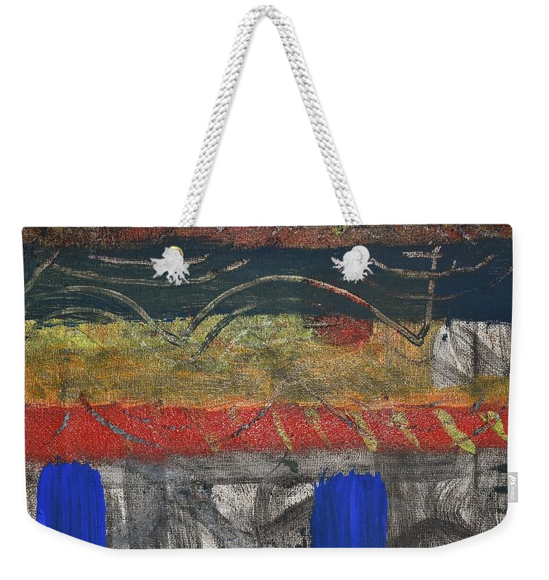 Abstract Weekender Tote Bag featuring the painting Marking 01 by Pam Roth O'Mara