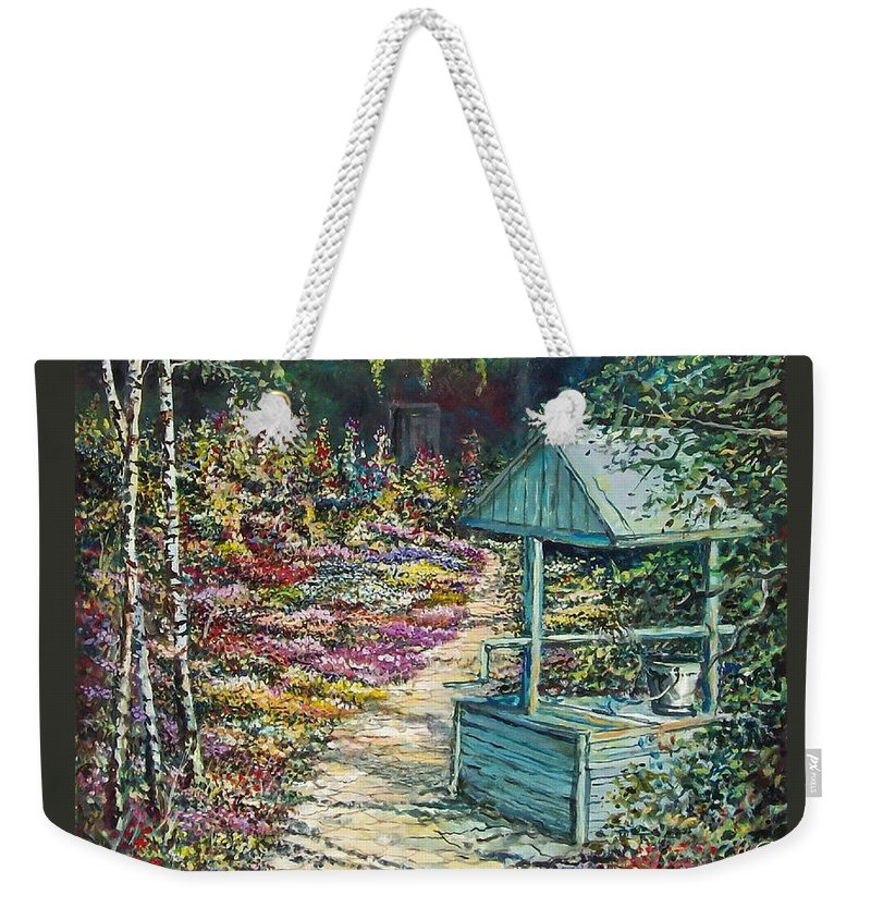 Garden Weekender Tote Bag featuring the painting Mary's Garden by Sinisa Saratlic