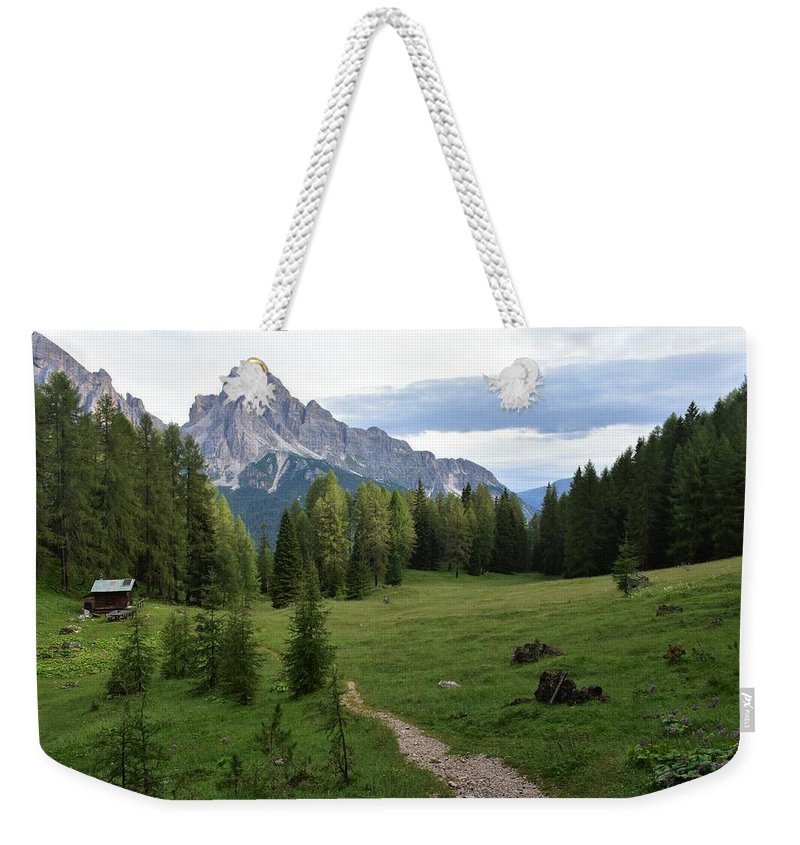 Dolomites Weekender Tote Bag featuring the photograph Meadow in the dolomites by Luca Lautenschlaeger