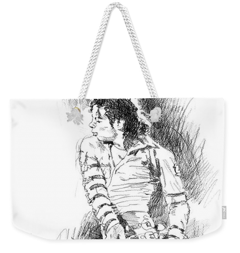Michael Jackson Weekender Tote Bag featuring the drawing Michael Jackson - Onstage by David Lloyd Glover