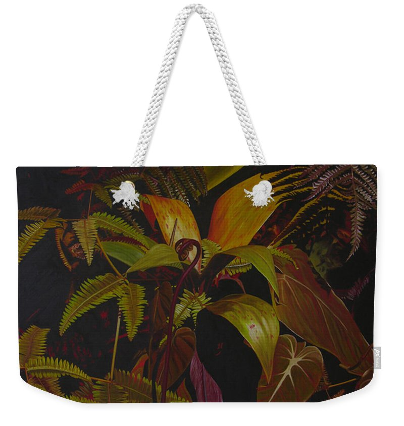 Plant Weekender Tote Bag featuring the painting Midnight in the garden by Thu Nguyen