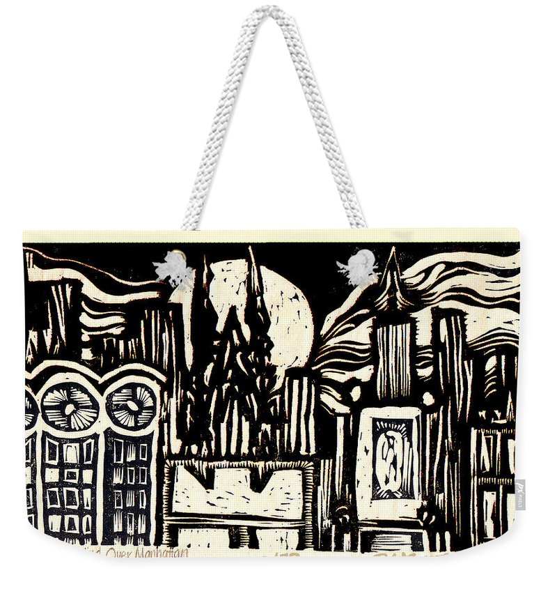 Bizarre Weekender Tote Bag featuring the mixed media Midnight Wind Over Manhattan by Seth Weaver
