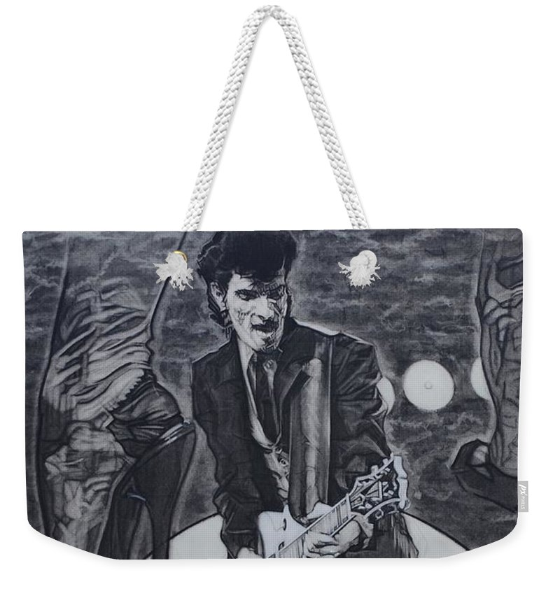 Charcoal Pencil On Paper Weekender Tote Bag featuring the drawing Mink DeVille by Sean Connolly