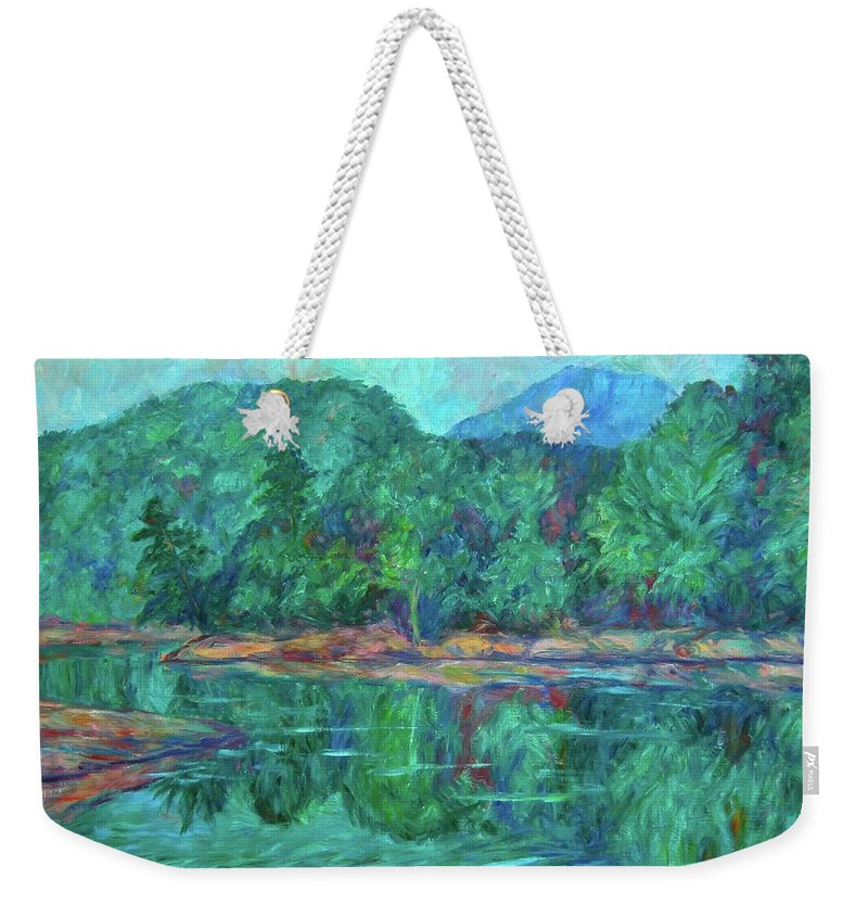 Landscape Weekender Tote Bag featuring the painting Misty Morning at Carvins Cove by Kendall Kessler