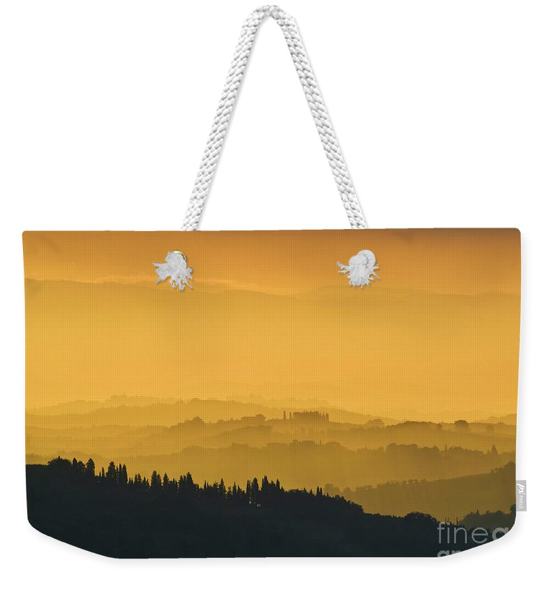 Tuscany Landscape Weekender Tote Bag featuring the photograph Misty Morning Sunrise, Tuscany, Italy by Neale And Judith Clark