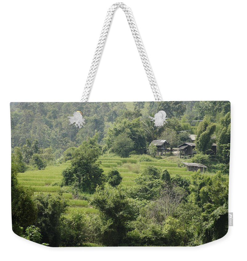 3scape Weekender Tote Bag featuring the photograph Misty Mountain Village by Adam Romanowicz